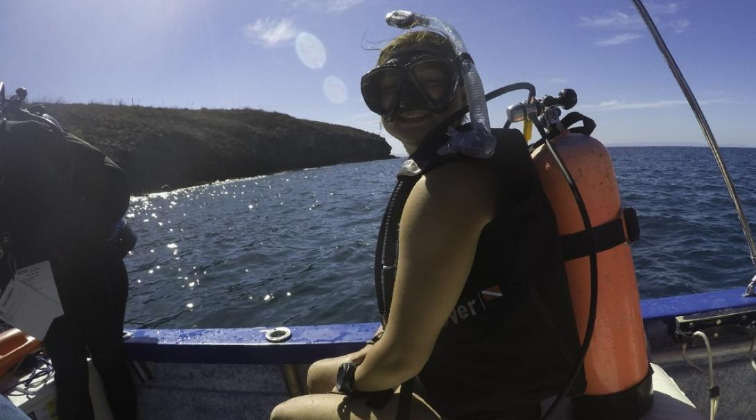 A volunteer prepares to dive in Mexico